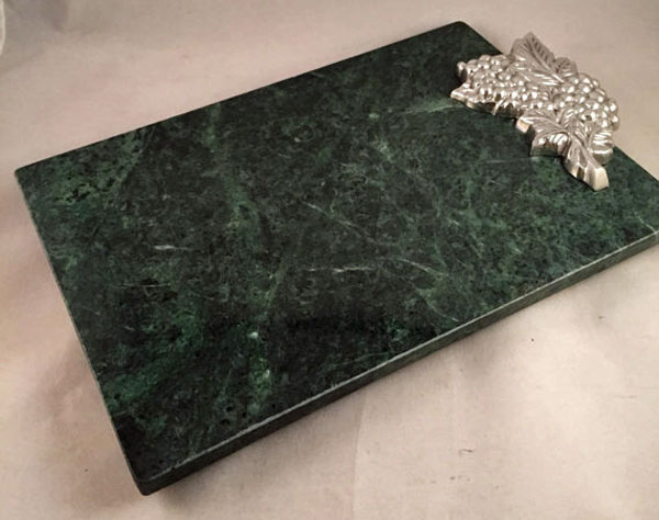 27 Green Marble Cutting Board With Silver Leaf Design